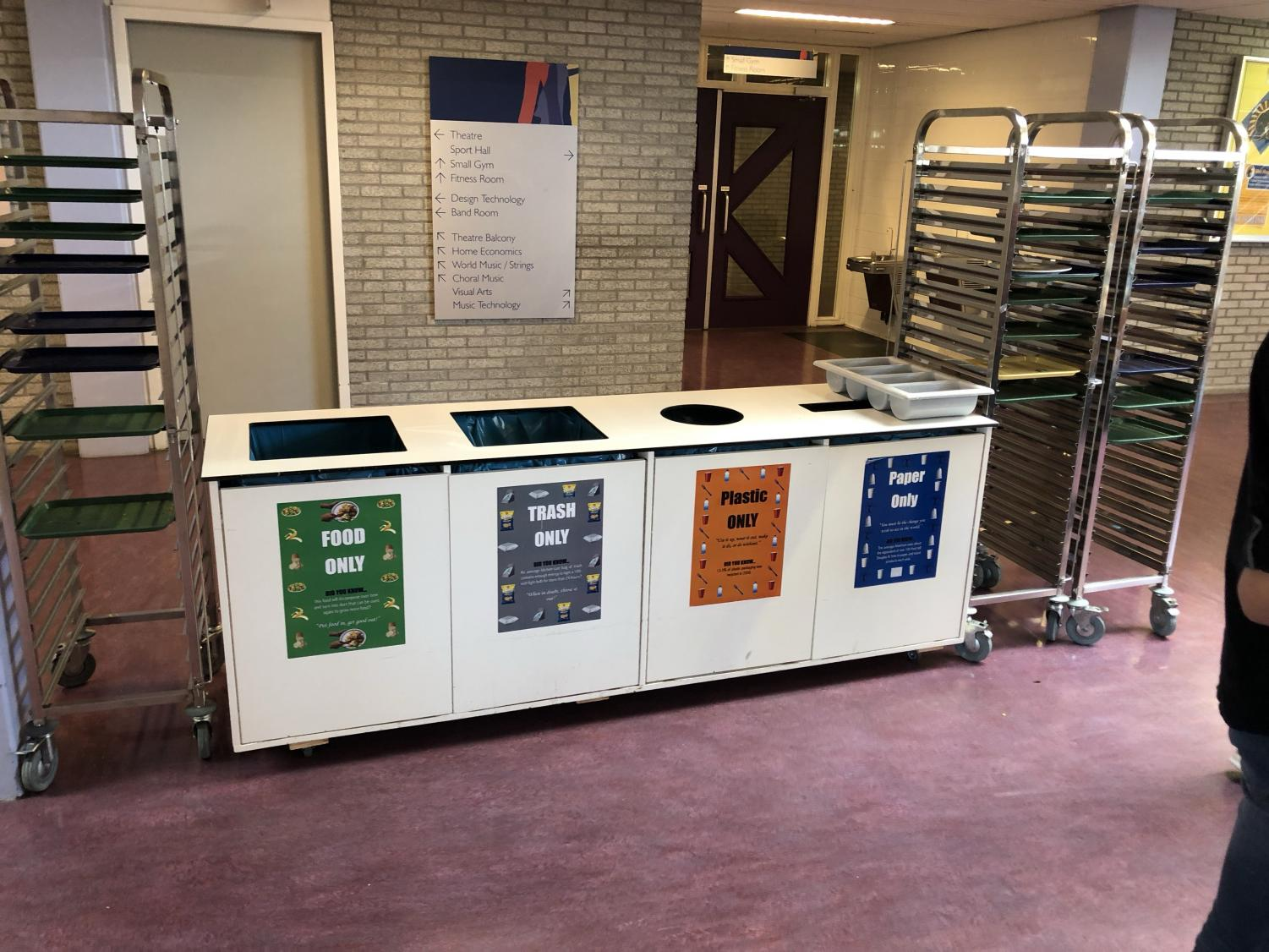 The trash cans in the cafeteria are separated into three subcategories- trash, plastic and paper.